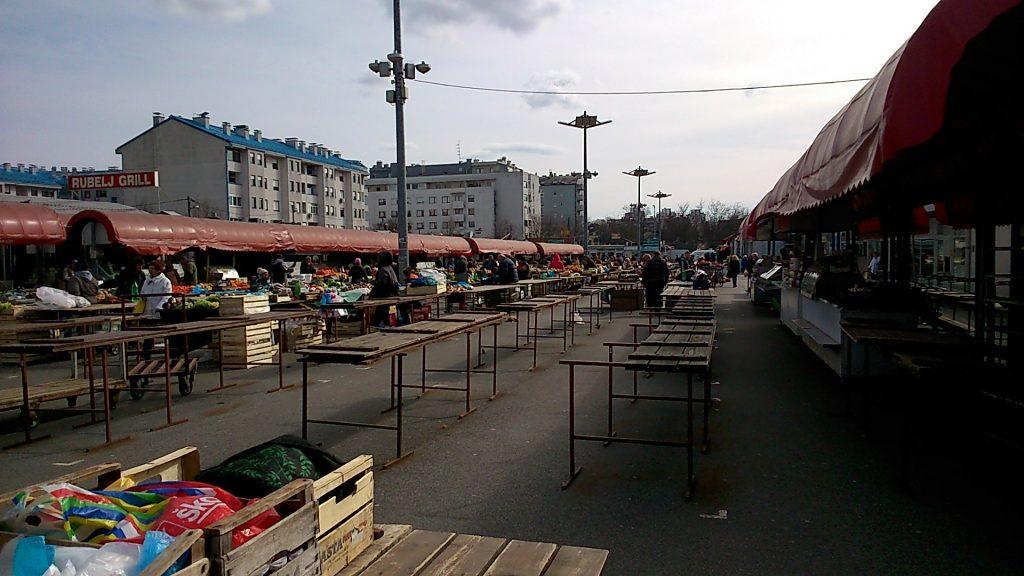 Der Markt von Trešnjevka am frühen Dienstagnachmittag